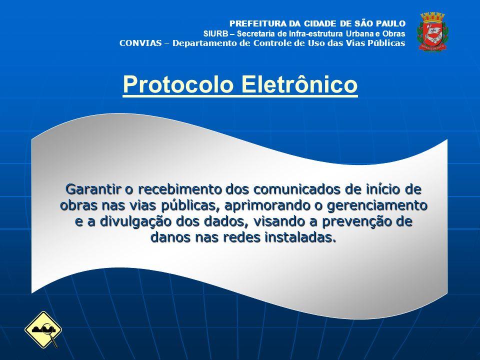PREFEITURA DA CIDADE DE SÃO PAULO SIURB – Secretaria de Infra-estrutura Urbana e Obras CONVIAS – Departamento de Controle de Uso das Vias Públicas Protocolo Eletrônico Abandonar o uso do papel Facilitar a localizaçãodainformação Garantir a integridadedainformação Aprimorar o gerencia-mento das obras emexecução na cidade Facilitar a divulgaçãodosdados