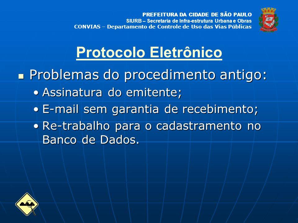 PREFEITURA DA CIDADE DE SÃO PAULO SIURB – Secretaria de Infra-estrutura Urbana e Obras CONVIAS – Departamento de Controle de Uso das Vias Públicas Protocolo Eletrônico