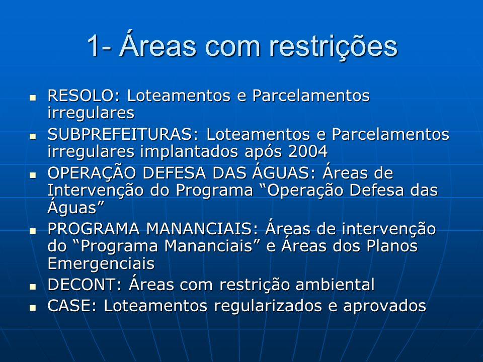 1- Áreas com restrições RESOLO: Loteamentos e Parcelamentos irregulares RESOLO: Loteamentos e Parcelamentos irregulares SUBPREFEITURAS: Loteamentos e