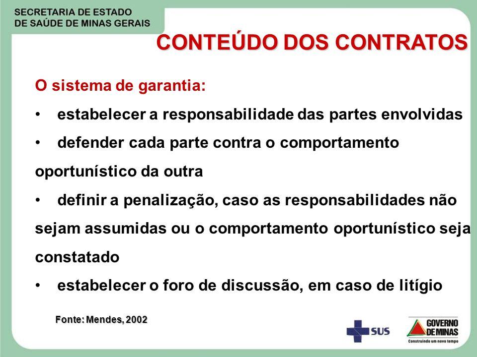 O sistema de garantia: estabelecer a responsabilidade das partes envolvidas defender cada parte contra o comportamento oportunístico da outra definir