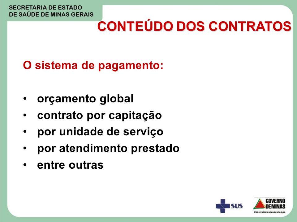O sistema de pagamento: orçamento global contrato por capitação por unidade de serviço por atendimento prestado entre outras CONTEÚDO DOS CONTRATOS