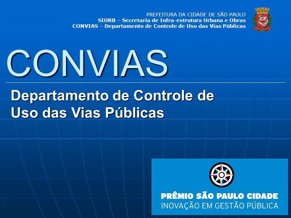 PREFEITURA DA CIDADE DE SÃO PAULO SIURB – Secretaria de Infra-estrutura Urbana e Obras CONVIAS – Departamento de Controle de Uso das Vias Públicas SAC Serviço de Atendimento ao Cidadão SAC Banco de Dados CONVIAS Permissionárias Decreto 46.921/06 Fiscalização SubprefeituraseCET