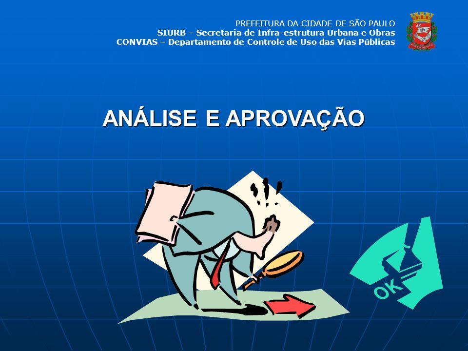 PREFEITURA DA CIDADE DE SÃO PAULO SIURB – Secretaria de Infra-estrutura Urbana e Obras CONVIAS – Departamento de Controle de Uso das Vias Públicas ANÁ