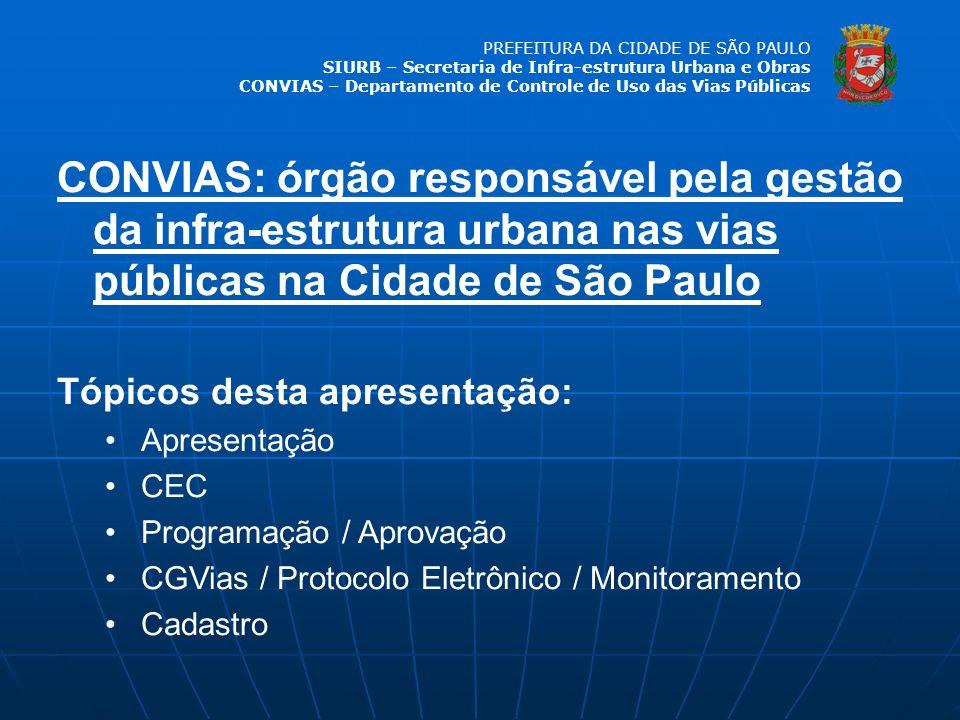 PREFEITURA DA CIDADE DE SÃO PAULO SIURB – Secretaria de Infra-estrutura Urbana e Obras CONVIAS – Departamento de Controle de Uso das Vias Públicas Números do 3º quadrimestre / 2008 PROGRAMAÇÃO 359 km programados 66%, em extensão, possuem interferência Outra empresa Obra pública 35%, em extensão, são redes novas e 65% são para manutenção de rede existente