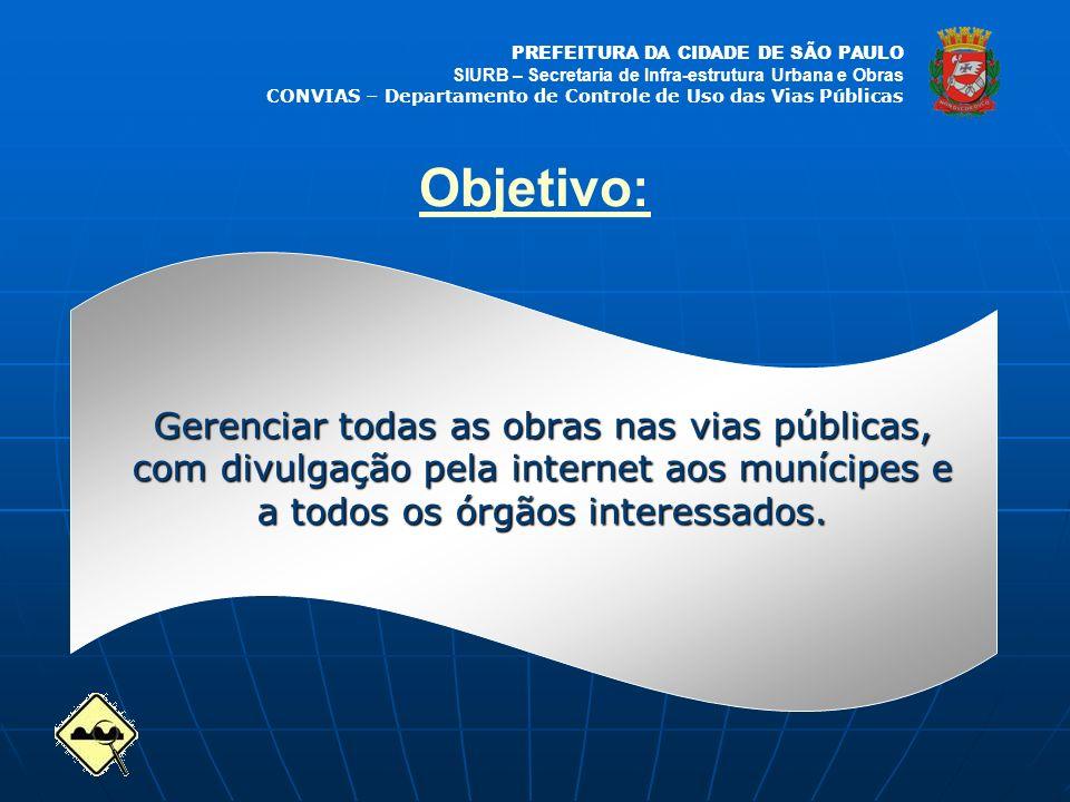PREFEITURA DA CIDADE DE SÃO PAULO SIURB – Secretaria de Infra-estrutura Urbana e Obras CONVIAS – Departamento de Controle de Uso das Vias Públicas Obj