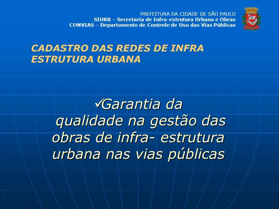 PREFEITURA DA CIDADE DE SÃO PAULO SIURB – Secretaria de Infra-estrutura Urbana e Obras CONVIAS – Departamento de Controle de Uso das Vias Públicas Gar