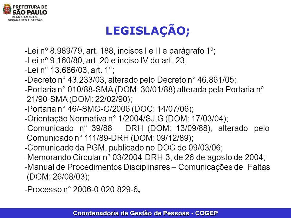 Coordenadoria de Gestão de Pessoas - COGEP -Lei nº 8.989/79, art. 188, incisos I e II e parágrafo 1º; -Lei nº 9.160/80, art. 20 e inciso IV do art. 23
