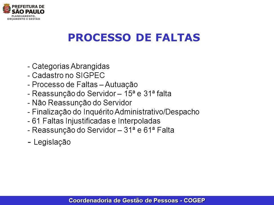 Coordenadoria de Gestão de Pessoas - COGEP - Categorias Abrangidas - Cadastro no SIGPEC - Processo de Faltas – Autuação - Reassunção do Servidor – 15ª