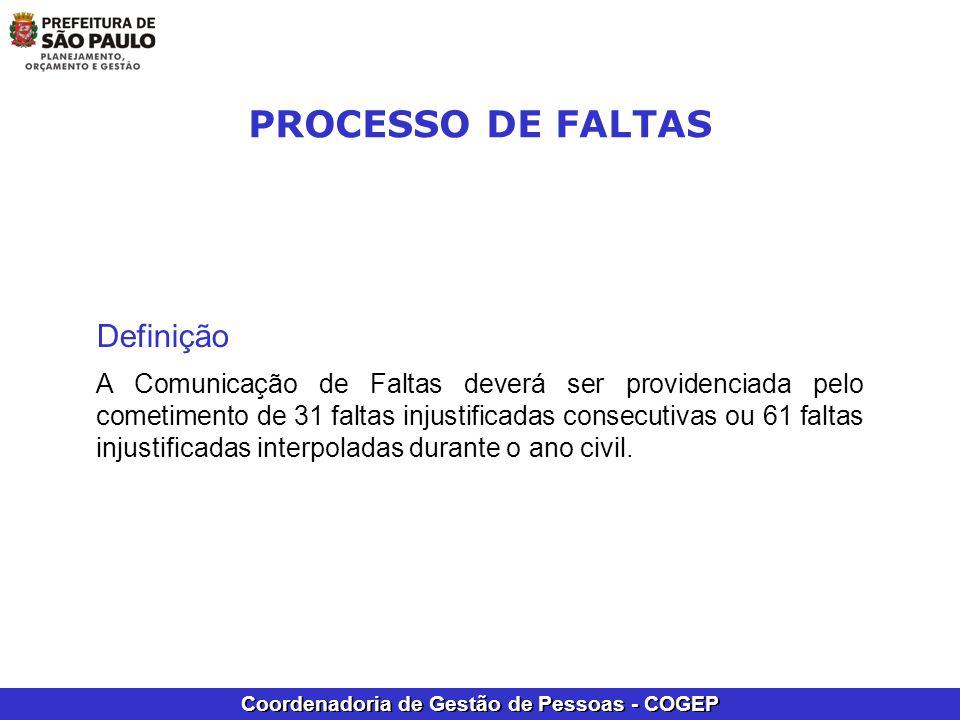Coordenadoria de Gestão de Pessoas - COGEP Definição A Comunicação de Faltas deverá ser providenciada pelo cometimento de 31 faltas injustificadas con