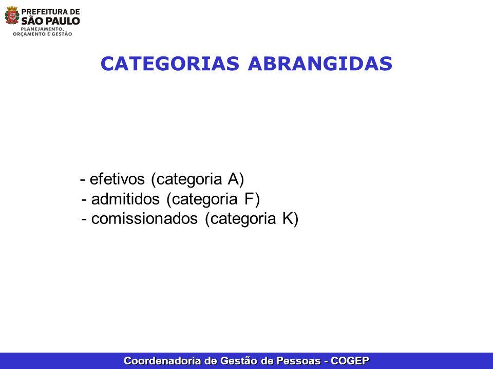 Coordenadoria de Gestão de Pessoas - COGEP - efetivos (categoria A) - admitidos (categoria F) - comissionados (categoria K) CATEGORIAS ABRANGIDAS