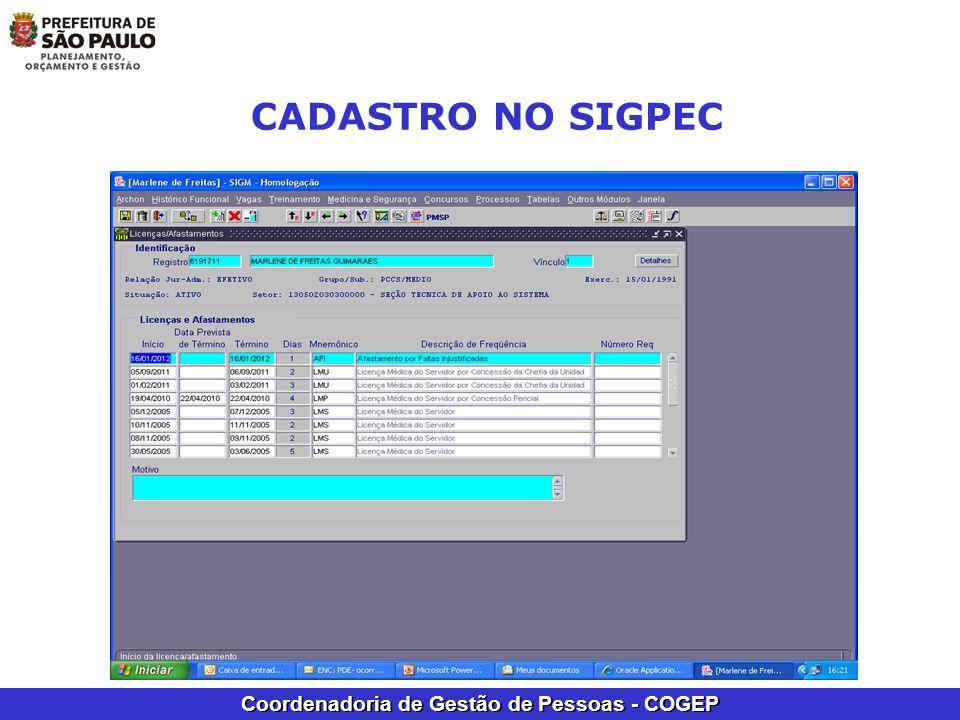 Coordenadoria de Gestão de Pessoas - COGEP CADASTRO NO SIGPEC