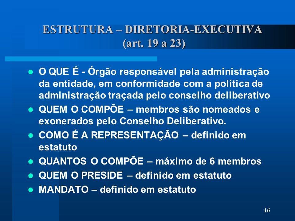 16 ESTRUTURA – DIRETORIA-EXECUTIVA (art.