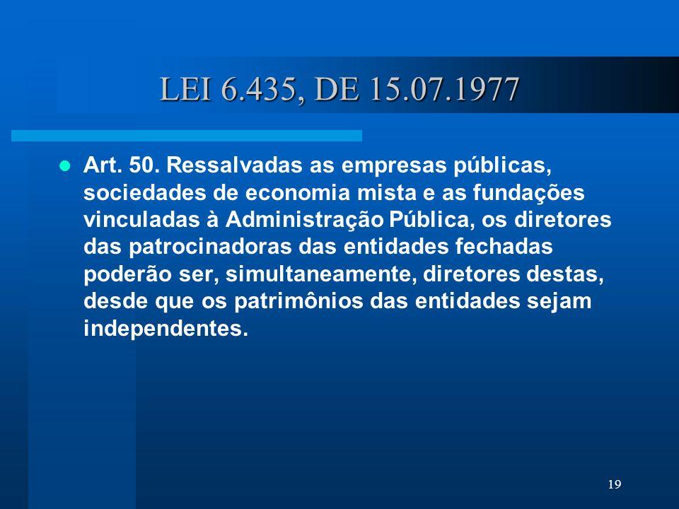 19 LEI 6.435, DE 15.07.1977 Art.50.