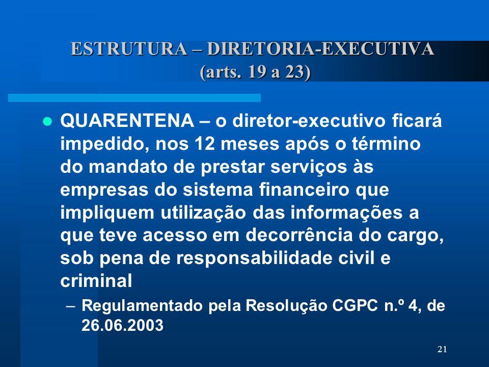 21 ESTRUTURA – DIRETORIA-EXECUTIVA (arts.