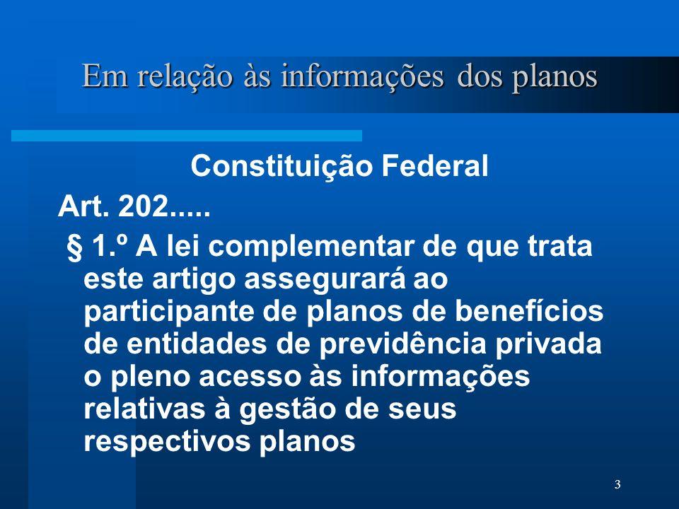 3 Em relação às informações dos planos Constituição Federal Art.