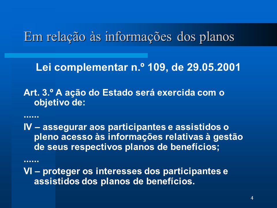 4 Em relação às informações dos planos Lei complementar n.º 109, de 29.05.2001 Art.