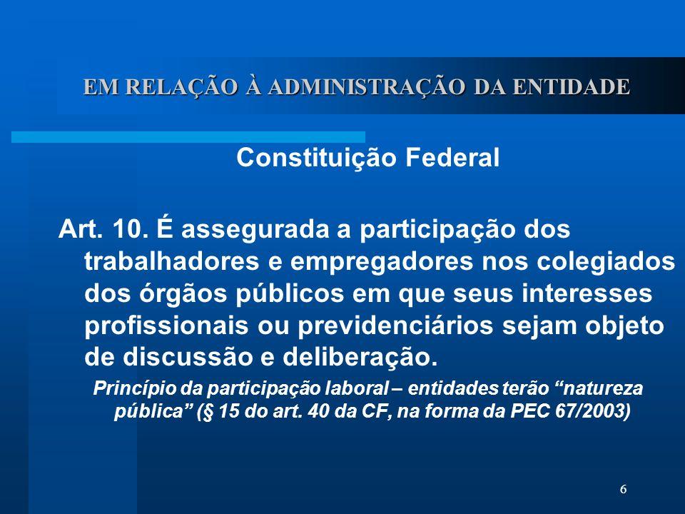 6 EM RELAÇÃO À ADMINISTRAÇÃO DA ENTIDADE Constituição Federal Art.