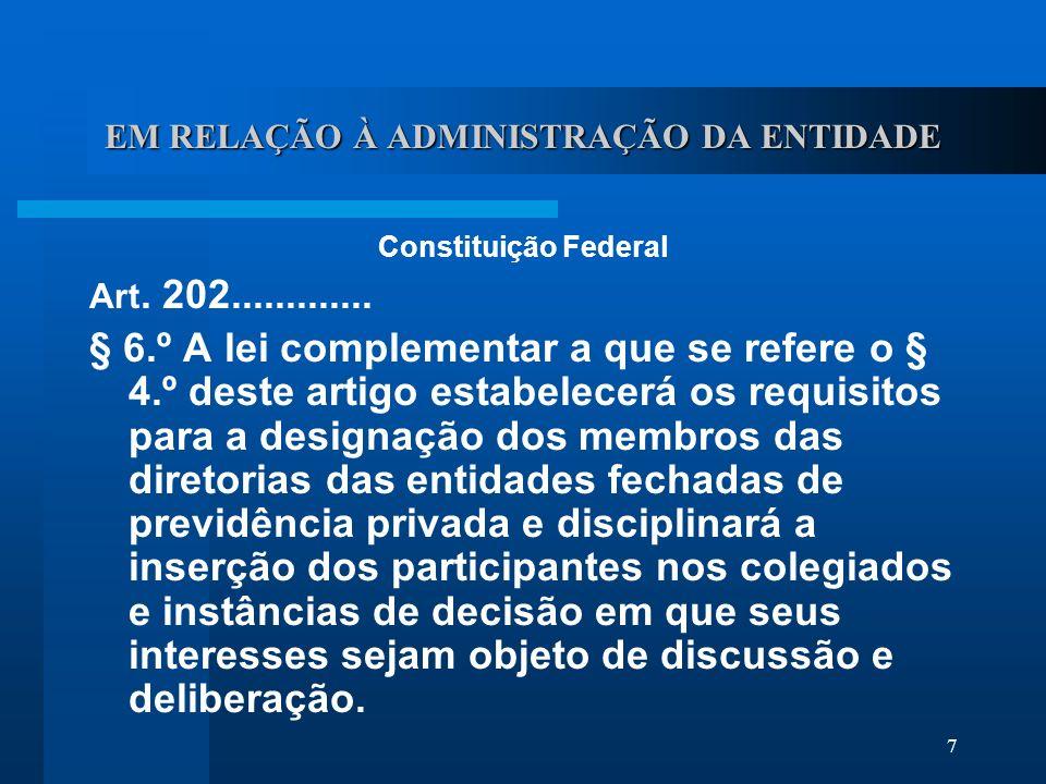 7 EM RELAÇÃO À ADMINISTRAÇÃO DA ENTIDADE Constituição Federal Art.