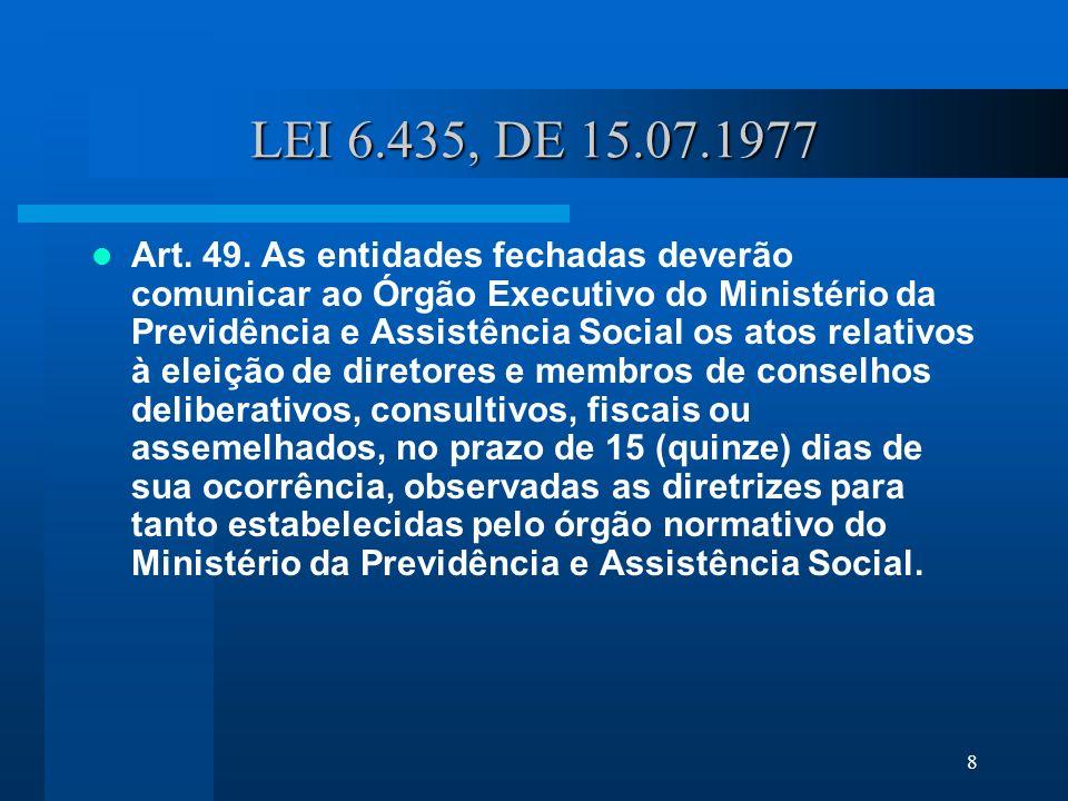 8 LEI 6.435, DE 15.07.1977 Art.49.