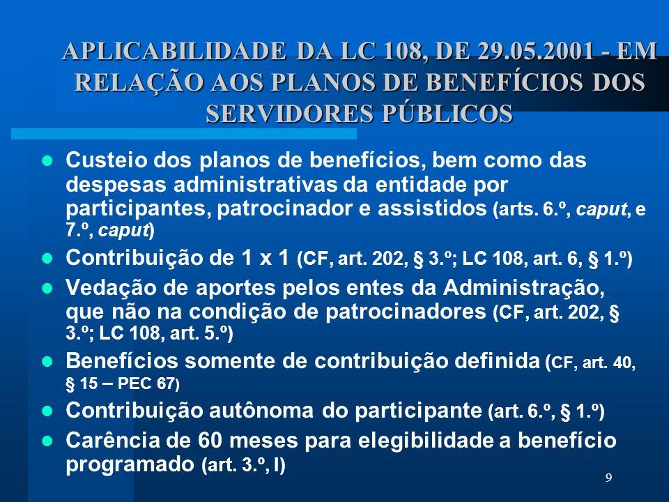 9 APLICABILIDADE DA LC 108, DE 29.05.2001 - EM RELAÇÃO AOS PLANOS DE BENEFÍCIOS DOS SERVIDORES PÚBLICOS Custeio dos planos de benefícios, bem como das despesas administrativas da entidade por participantes, patrocinador e assistidos (arts.
