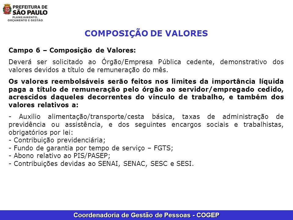 COMPOSIÇÃO DE VALORES Campo 6 – Composição de Valores: Deverá ser solicitado ao Órgão/Empresa Pública cedente, demonstrativo dos valores devidos a tít