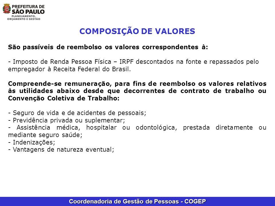 Coordenadoria de Gestão de Pessoas - COGEP COMPOSIÇÃO DE VALORES São passíveis de reembolso os valores correspondentes à: - Imposto de Renda Pessoa Fí