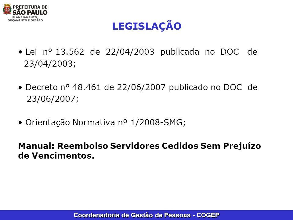 Coordenadoria de Gestão de Pessoas - COGEP LEGISLAÇÃO Lei n° 13.562 de 22/04/2003 publicada no DOC de 23/04/2003; Decreto n° 48.461 de 22/06/2007 publ