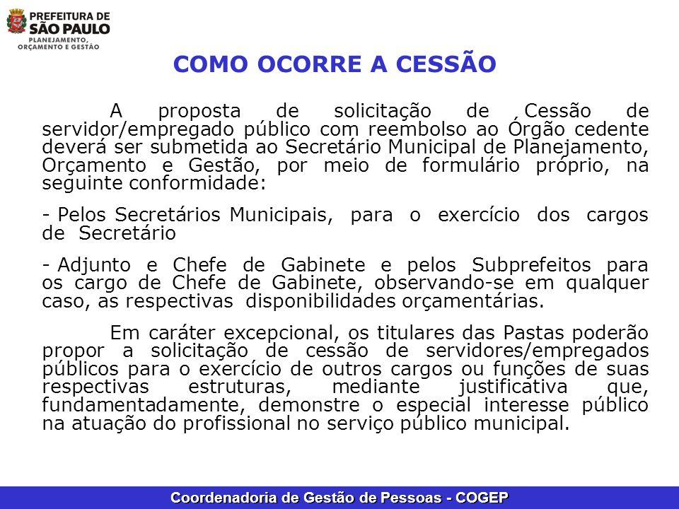 Coordenadoria de Gestão de Pessoas - COGEP COMO OCORRE A CESSÃO A proposta de solicitação de Cessão de servidor/empregado público com reembolso ao Órg