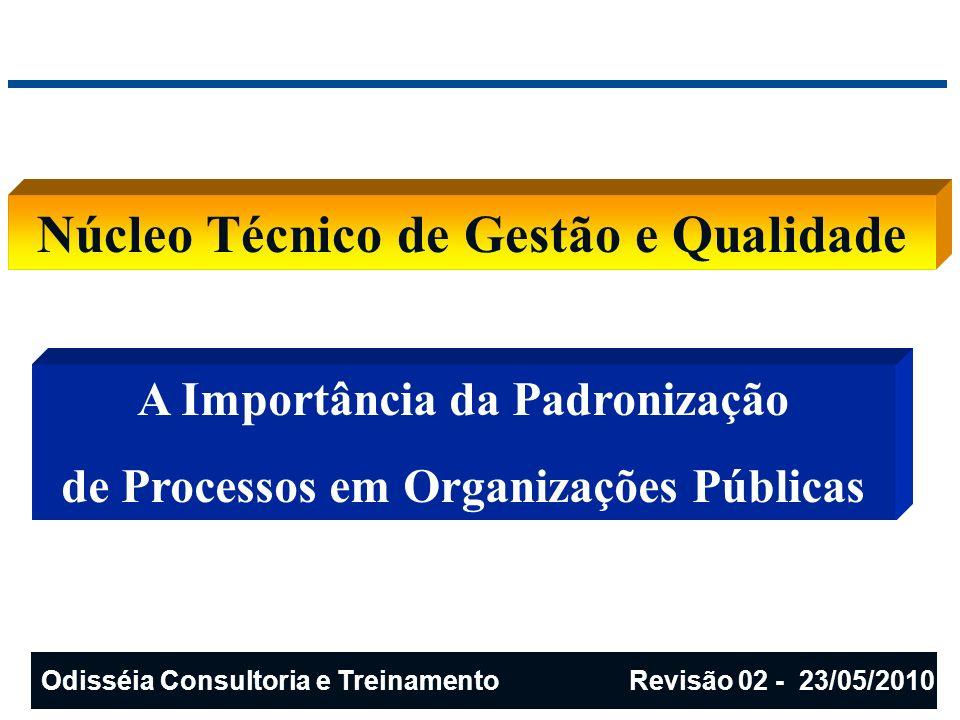 A série de normas ISO 9000 Conceitos e Glossários ISO 9000:2005 Sistema de Gestão da Qualidade - Requisitos Definições: qualidade produto processo conformidade documento registro serviço controle da qualidade sistema da qualidade auditoria retrabalho e reparo disposição de não conformidade ação corretiva e preventiva satisfação do cliente Odisséia Consultoria e Treinamento Revisão 02 - 23/05/2010