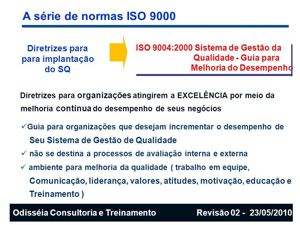 A série de normas ISO 9000 Diretrizes para para implantação do SQ ISO 9004:2000 Sistema de Gestão da Qualidade - Guia para Melhoria do Desempenho Dire