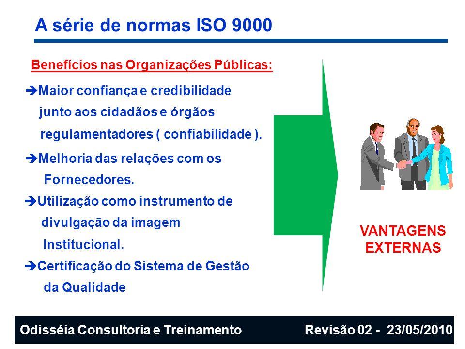 A série de normas ISO 9000 Benefícios nas Organizações Públicas: Maior confiança e credibilidade junto aos cidadãos e órgãos regulamentadores ( confia