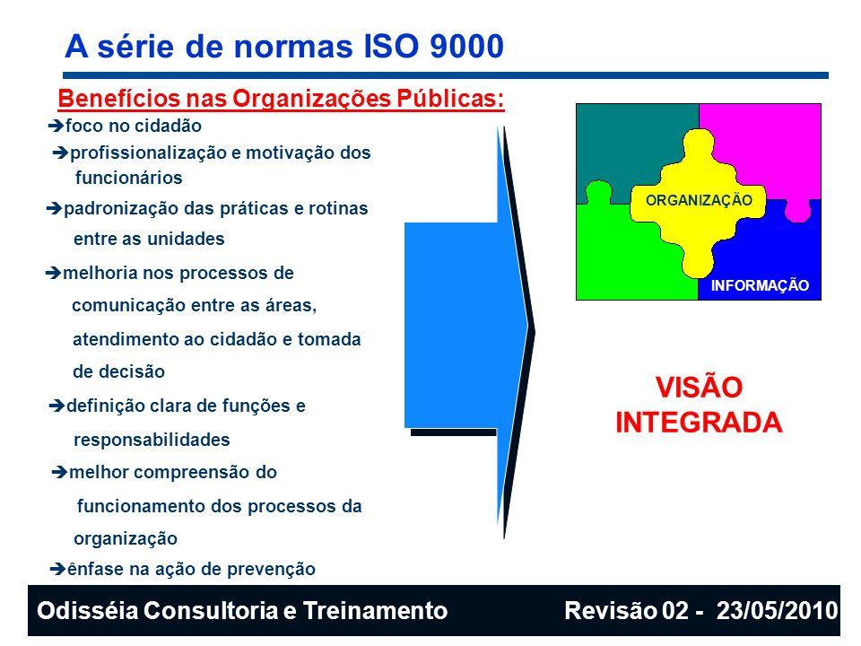 A série de normas ISO 9000 Benefícios nas Organizações Públicas: foco no cidadão profissionalização e motivação dos funcionários padronização das prát
