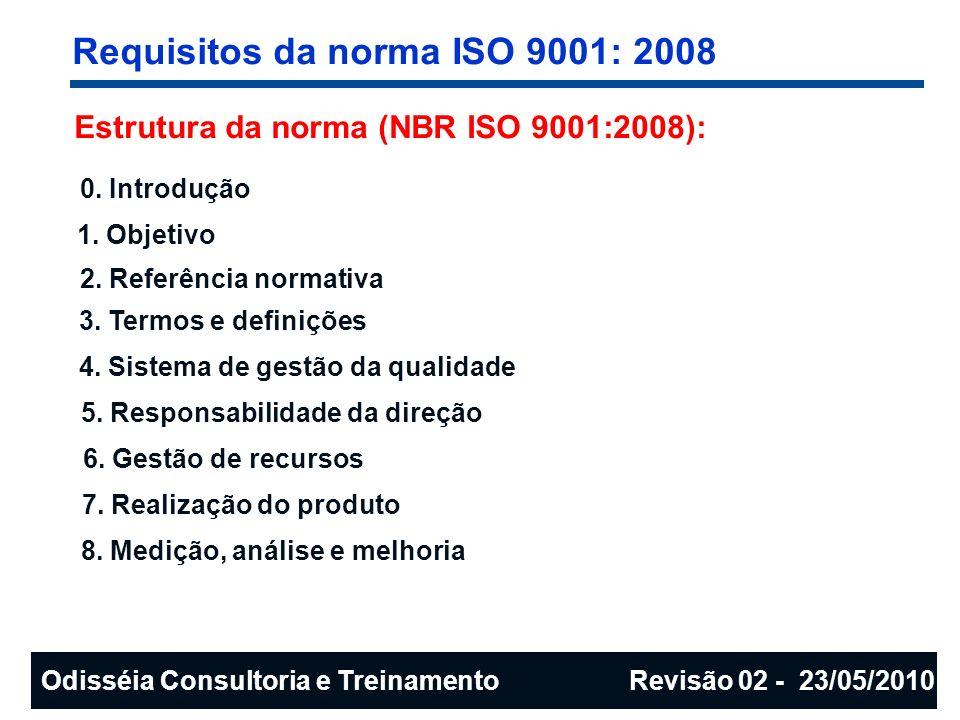 Requisitos da norma ISO 9001: 2008 Estrutura da norma (NBR ISO 9001:2008): 0. Introdução 1. Objetivo 2. Referência normativa 3. Termos e definições 4.