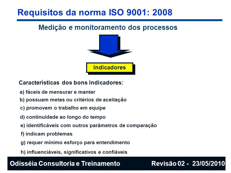 Requisitos da norma ISO 9001: 2008 Medição e monitoramento dos processos Indicadores Características dos bons indicadores: a) fáceis de mensurar e man