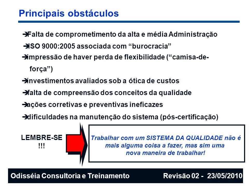 Principais obstáculos Falta de comprometimento da alta e média Administração ISO 9000:2005 associada com burocracia impressão de haver perda de flexib