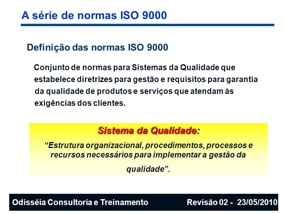 A série de normas ISO 9000 INTERNATIONAL ORGANIZATION FOR STANDARTIZATION - ISO Sede em Genebra ( Suíça ), fundada em 1947; Entidade não governamental, sem fins lucrativos; Fórum para definição de normas e padrões internacionais; Assuntos técnicos, não somente ligados a qualidade; Participação de mais de 90 países; Representação de mais de 95% do PIB mundial; Brasil representado pela ABNT - CB 25.