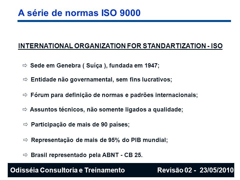 A série de normas ISO 9000 Origem Normas militares Normas nacionais (BS 5750 - Reino Unido) 1º edição das normas ISO 9000 1º edição da NBR ISO 9000 (Brasil) 1º revisão da ISO 9000 2º revisão da ISO 9000 Após II Guerra Mundial Década de 1978 1987199019942000 Tempo Odisséia Consultoria e Treinamento Revisão 02 - 23/05/2010