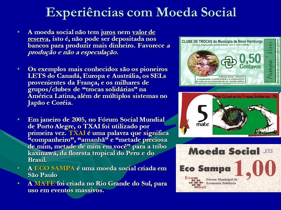 Experiências com Moeda Social A moeda social não tem juros nem valor de reserva, isto é, não pode ser depositada nos bancos para produzir mais dinheiro.