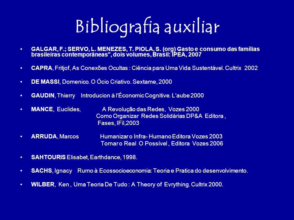 Bibliografia auxiliar GALGAR, F.; SERVO, L.MENEZES, T.