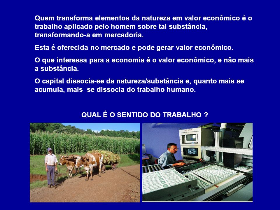 Quem transforma elementos da natureza em valor econômico é o trabalho aplicado pelo homem sobre tal substância, transformando-a em mercadoria.
