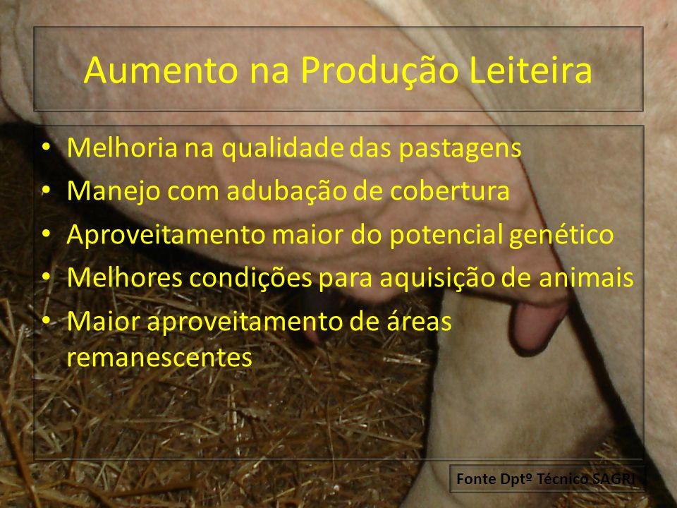 Diversificação nas atividades Diminuição de área utilizada para gado de leite Opção para gado de corte e outros Plantio de milho, sorgo e outros para produção de silagem Fonte : Dptº Técnico SAGRI