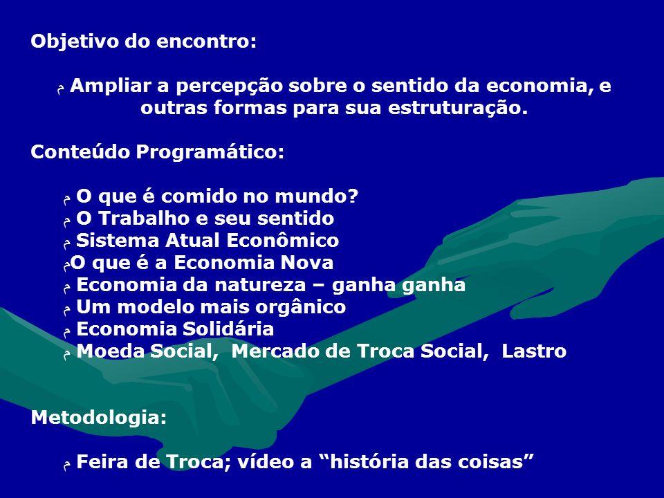 Objetivo do encontro: م Ampliar a percepção sobre o sentido da economia, e outras formas para sua estruturação.