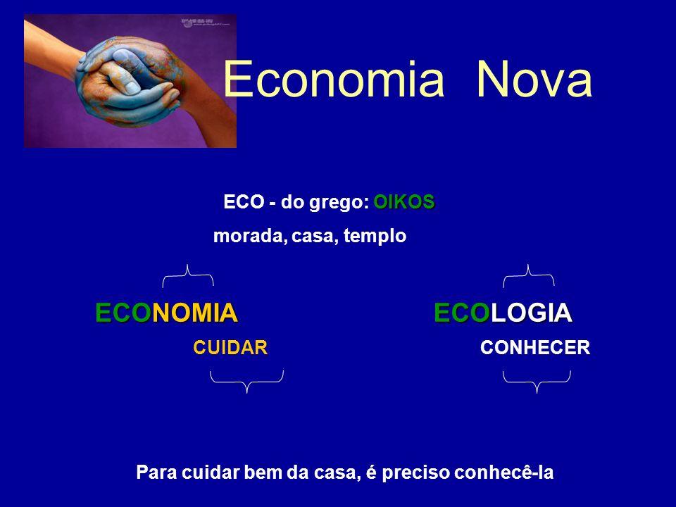 OIKOS ECO - do grego: OIKOS morada, casa, templo ECONOMIAECOLOGIA ECONOMIA ECOLOGIA Para cuidar bem da casa, é preciso conhecê-la CUIDARCONHECER Economia Nova