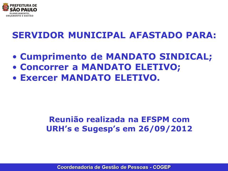 Coordenadoria de Gestão de Pessoas - COGEP SERVIDOR MUNICIPAL AFASTADO PARA: Cumprimento de MANDATO SINDICAL; Concorrer a MANDATO ELETIVO; Exercer MAN