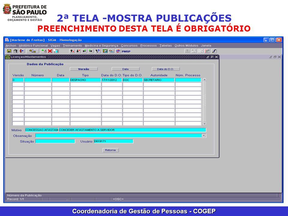 2ª TELA -MOSTRA PUBLICAÇÕES PREENCHIMENTO DESTA TELA É OBRIGATÓRIO