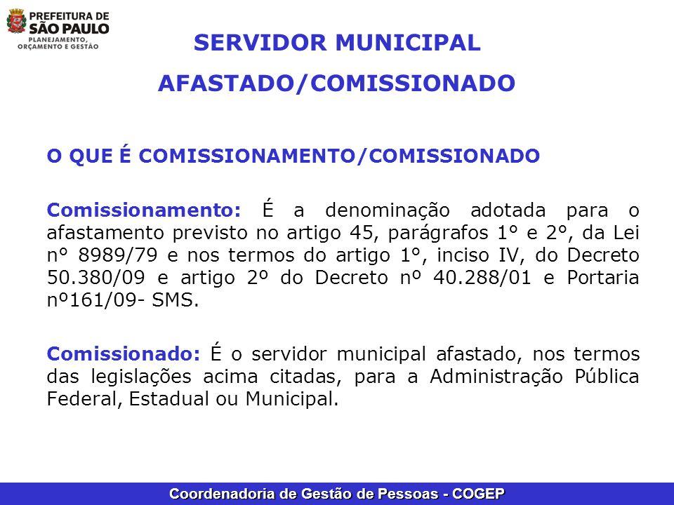 Coordenadoria de Gestão de Pessoas - COGEP SERVIDOR MUNICIPAL AFASTADO/COMISSIONADO O QUE É COMISSIONAMENTO/COMISSIONADO Comissionamento: É a denomina
