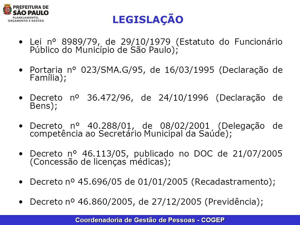 Coordenadoria de Gestão de Pessoas - COGEP LEGISLAÇÃO Lei n° 8989/79, de 29/10/1979 (Estatuto do Funcionário Público do Município de São Paulo); Porta