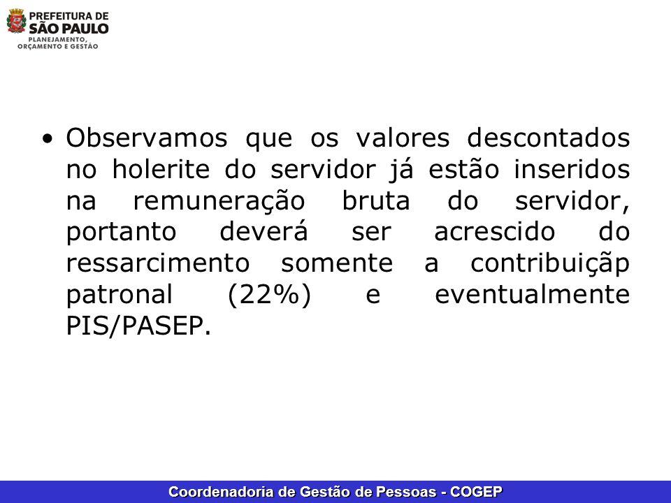 Coordenadoria de Gestão de Pessoas - COGEP Observamos que os valores descontados no holerite do servidor já estão inseridos na remuneração bruta do se