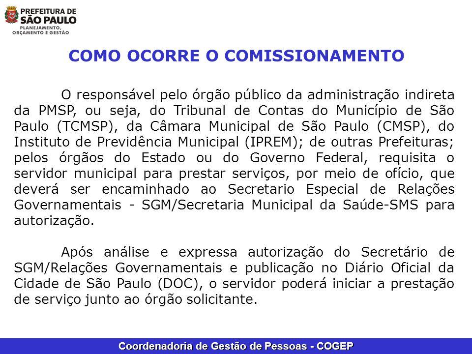 Coordenadoria de Gestão de Pessoas - COGEP COMO OCORRE O COMISSIONAMENTO O responsável pelo órgão público da administração indireta da PMSP, ou seja,