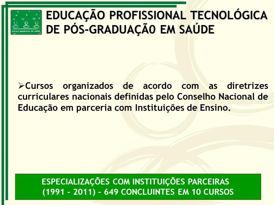 Cursos organizados de acordo com as diretrizes curriculares nacionais definidas pelo Conselho Nacional de Educação em parceria com Instituições de Ens